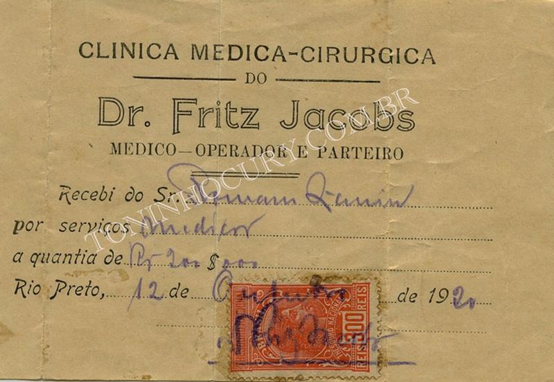 Recibo do dr. Fritz Jacobs. (Fotoreprodução: Toninho Cury)