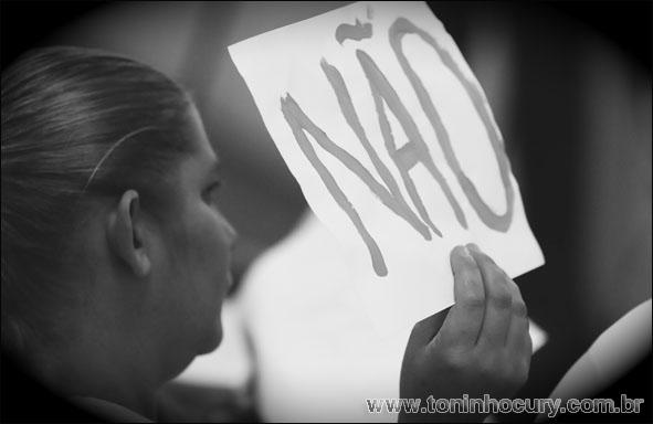 Protesto dos estudantes na Câmara
